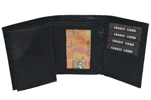 wallet trifold pull out flap zipper id pocket new black genuine leather ebay. Black Bedroom Furniture Sets. Home Design Ideas
