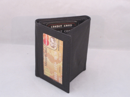 WALLET TRIFOLD WITH OUTSIDE WINDOW VERY RARE NEW BLACK FREE SHIPPING GIFT IDEA
