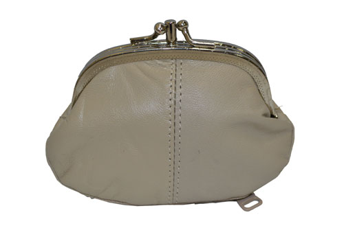 8501475fd5e COIN PURSE DOUBLE FRAME WITH ZIPPER POCKET NEW BEIGE
