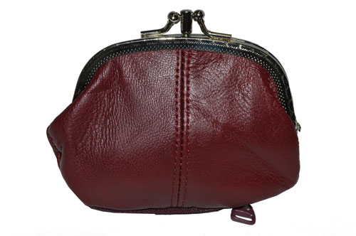 c2b94d5ae20 COIN PURSE DOUBLE FRAME WITH ZIPPER POCKET NEW MAROON