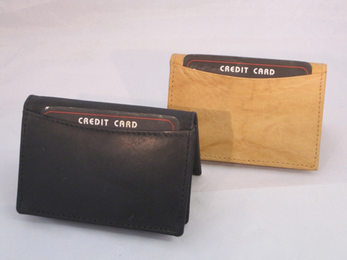 SET OF 2 BUSINESS CARD ID HOLDER MONEY EXPANDABLE BLACK TAN GREAT GIFT IDEA