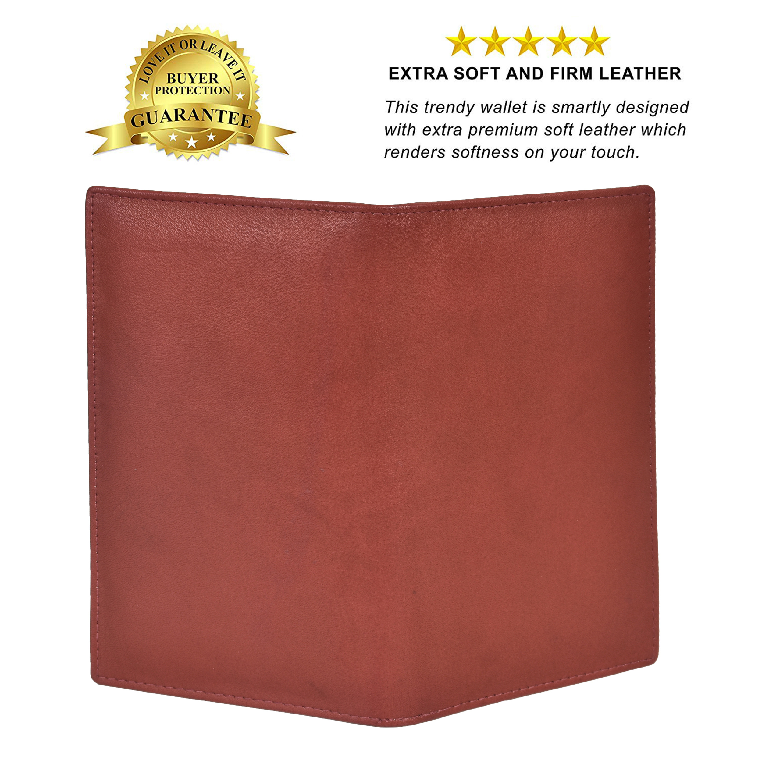 Mens Genuine Leather Bifold Secretary Wallet Brown Credit Card Case Holder New