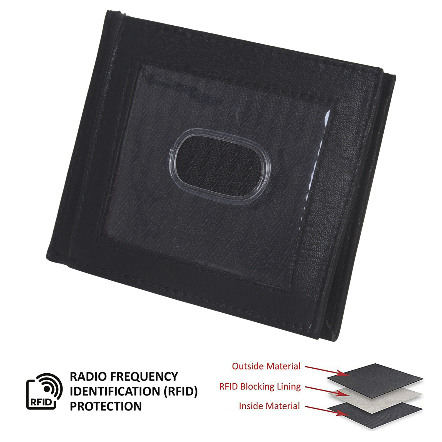 WALLET SLIM OUTSIDE ID MONEY CREDIT CARD THIN NEW BLACK