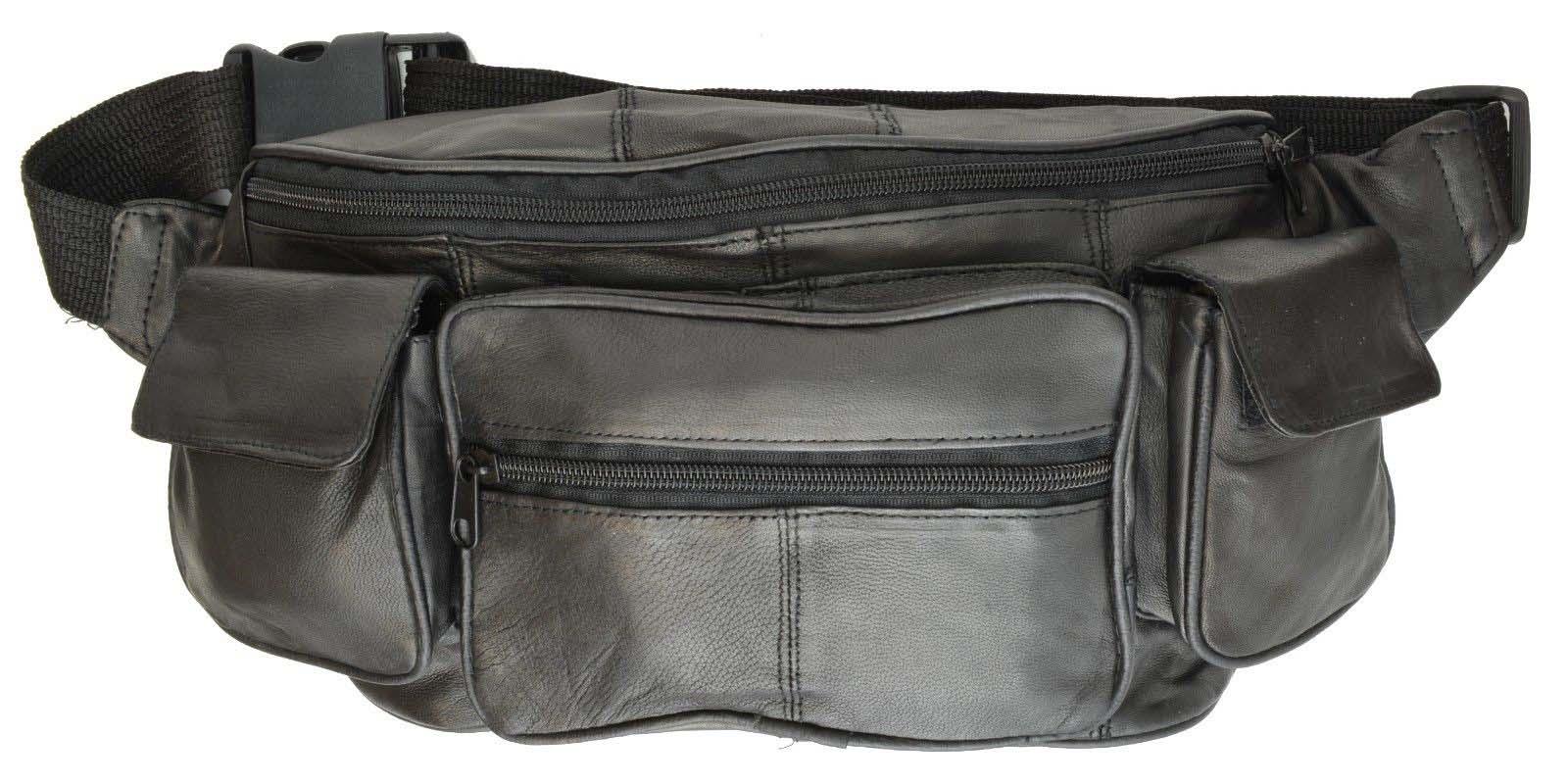 Large Black Solid Leather Waist Fanny Pack Belt Bag Travel Hip Purse Mens Womens