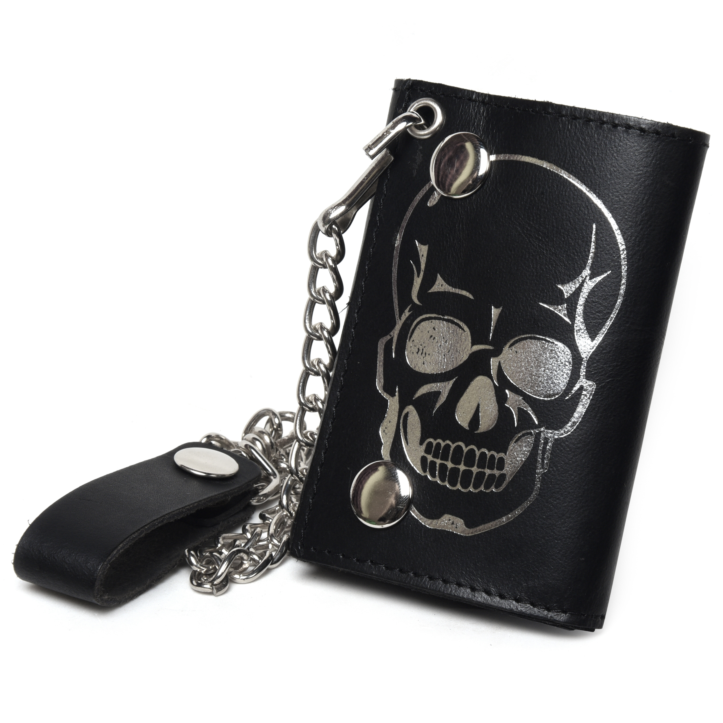 Leatherboss Genuine Leather Men Cool Skull Trifold Wallet Chain Biker Black Ebay